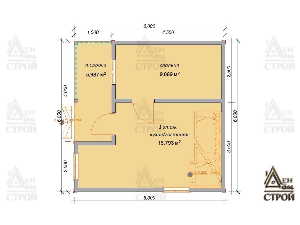 Проект каркасного дома 6х6 с мансардой