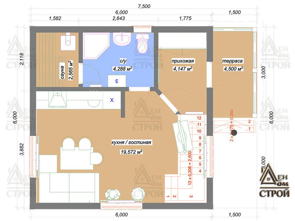 План каркасного дома 6 на 6 первый этаж