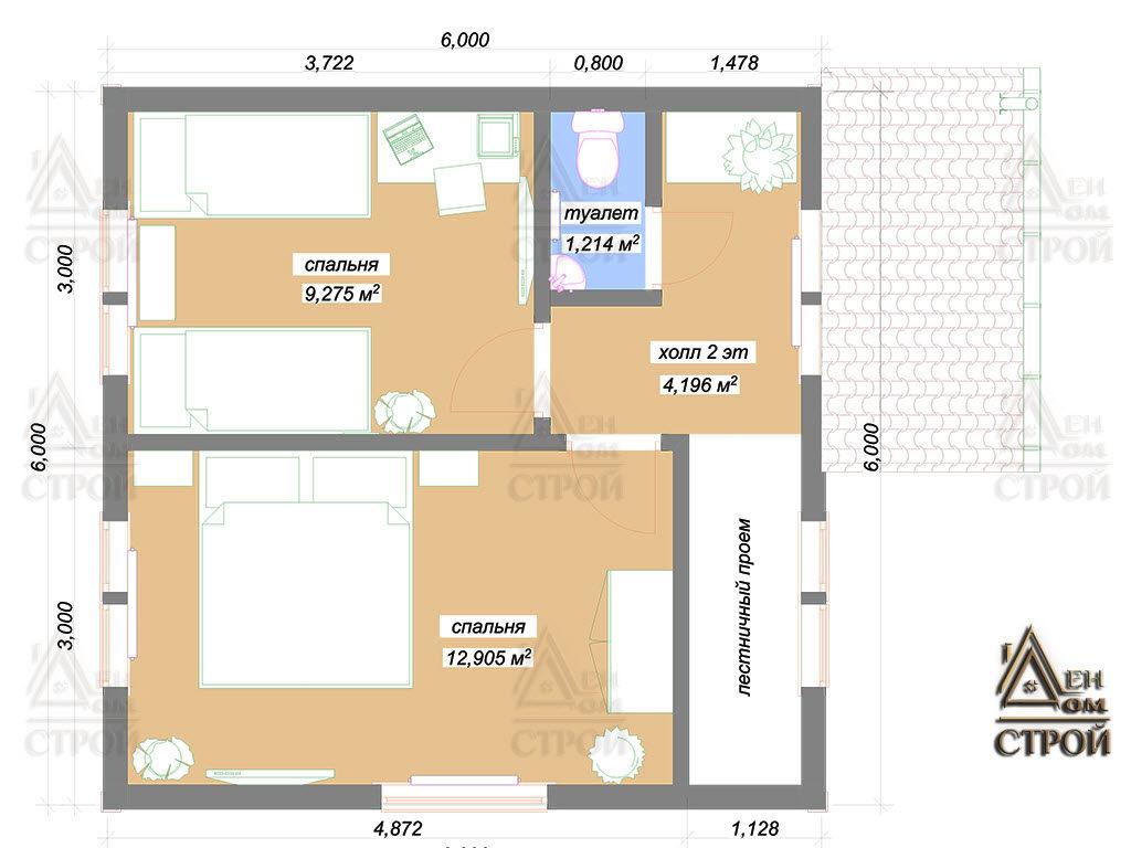 План каркасного дома 6 на 6 второй этаж