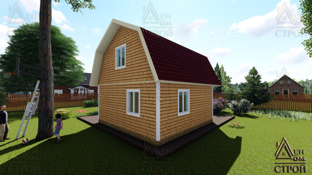 Каркасный дом 6х6 с ломаной крышей