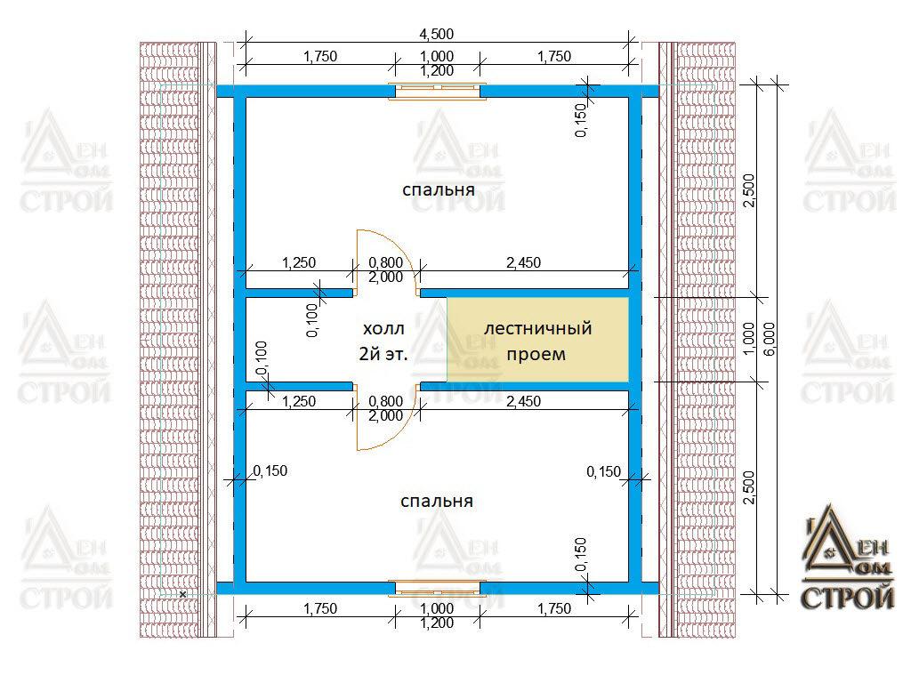 Проект каркасного дома 6х6 с ломаной крышей 2 этаж