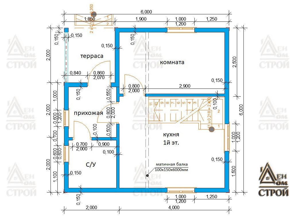 Проект каркасного дома 6х6 с ломаной крышей 1 этаж