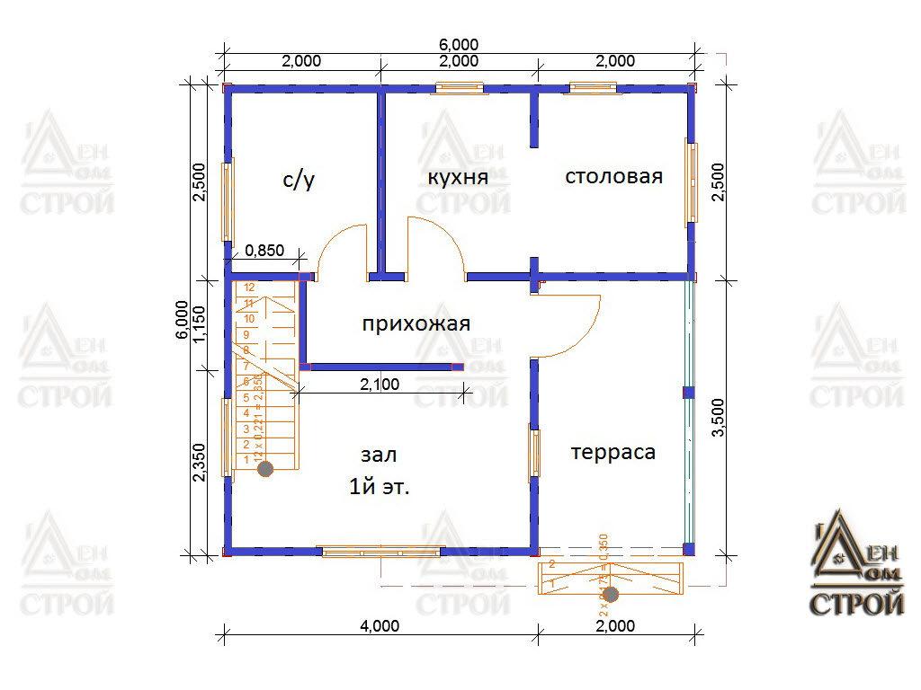 Проект каркасного дома 6х6 со вторым светом 1 этаж