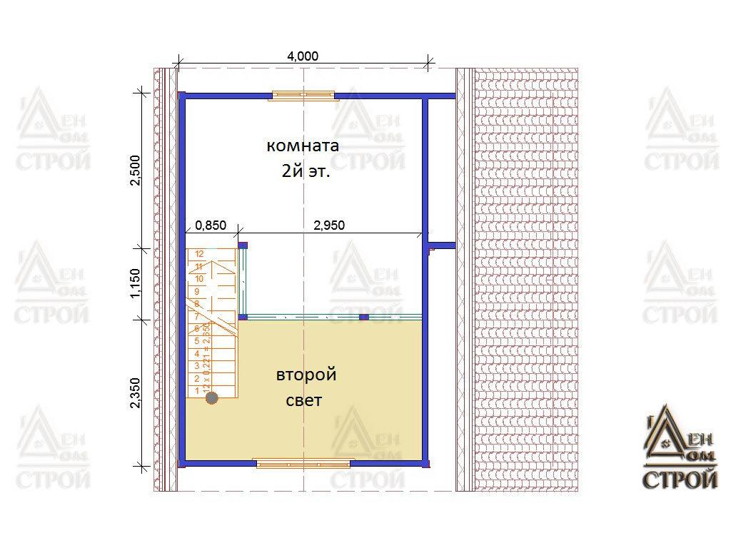 Проект каркасного дома 6х6 со вторым светом 2 этаж