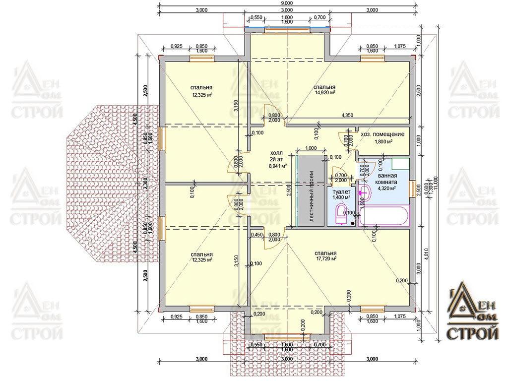 Проект каркасного дома 9х9