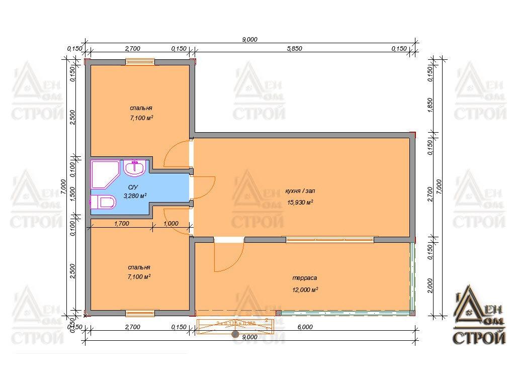 План каркасного дома 7x9 одноэтажного