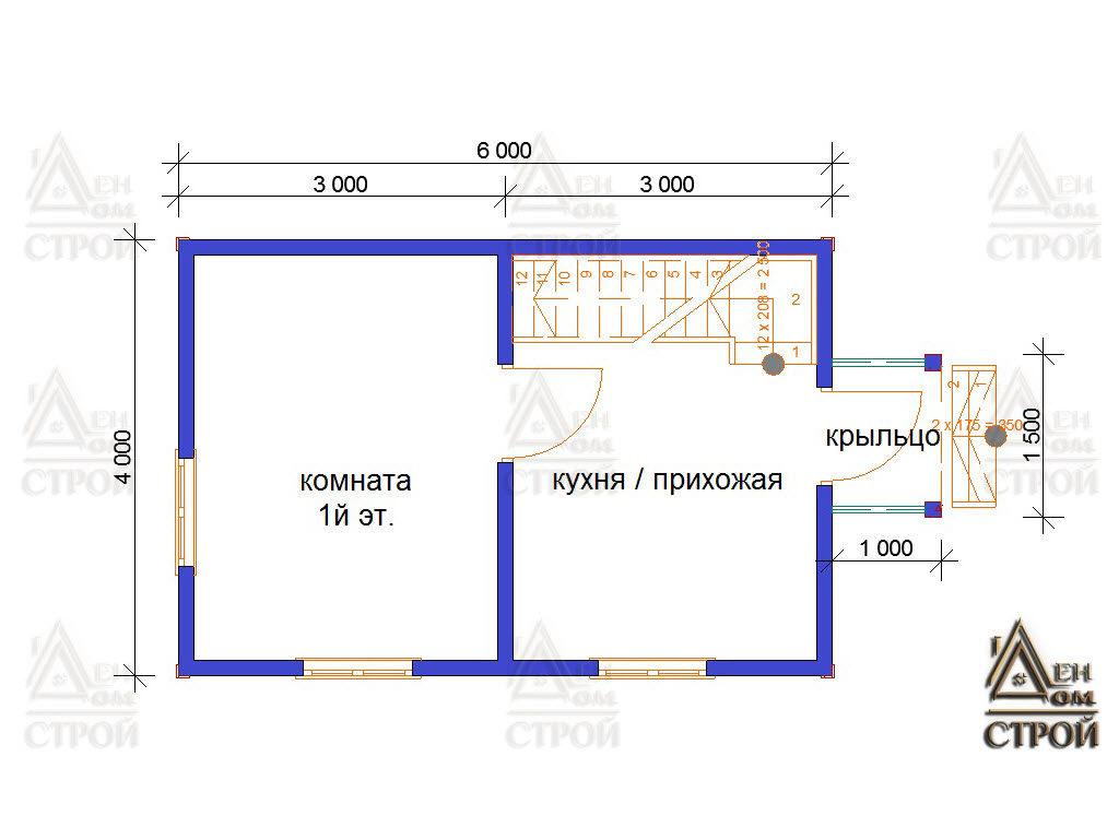 Проект каркасного дома 6х4 первый этаж