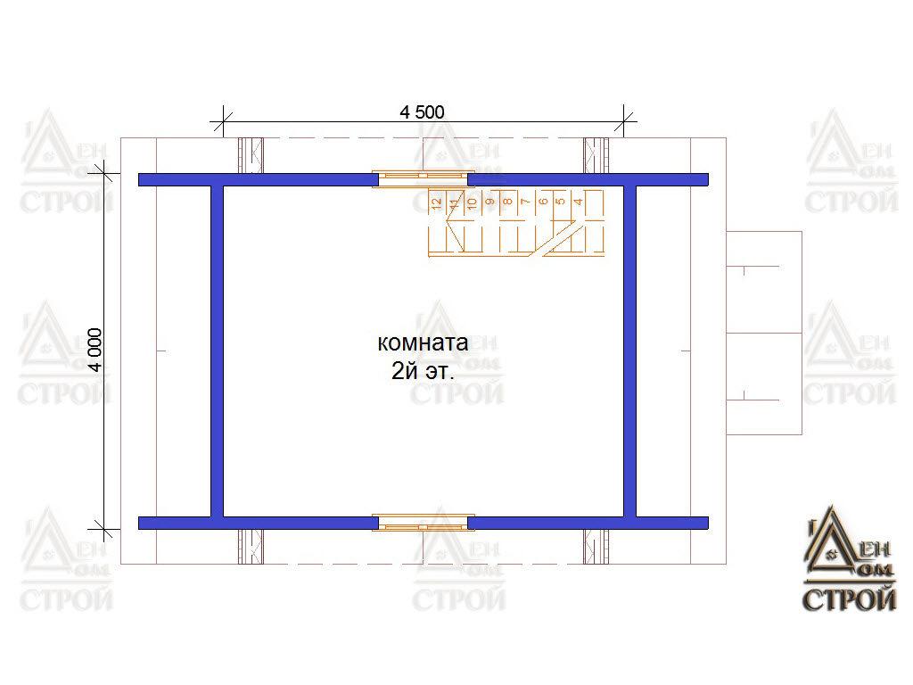 Проект каркасного дома 6х4 второй этаж