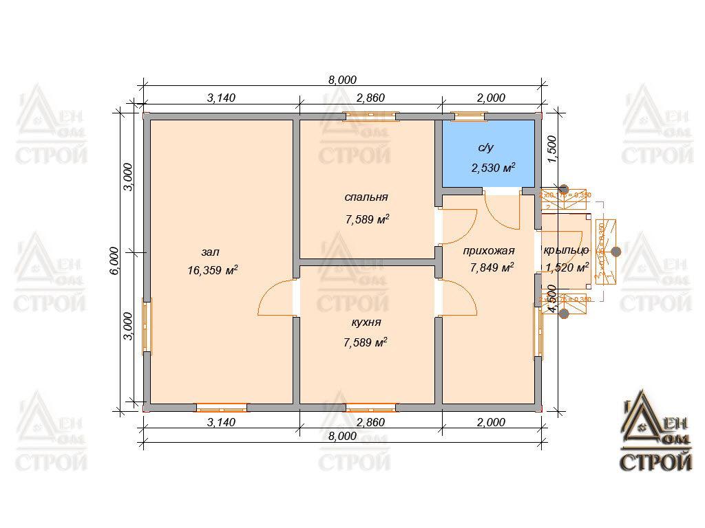 проект одноэтажного каркасного дома 6 на 8