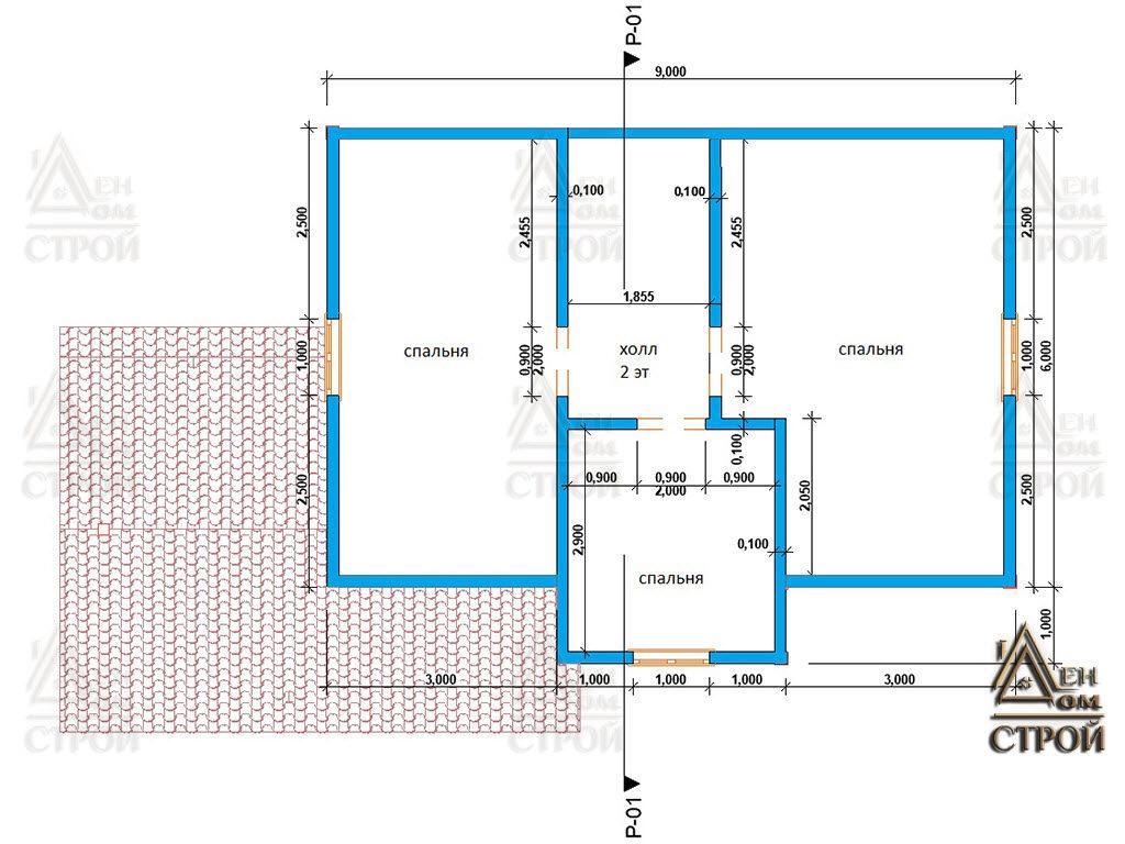 Проект каркасного дома 7 на 9 второй этаж