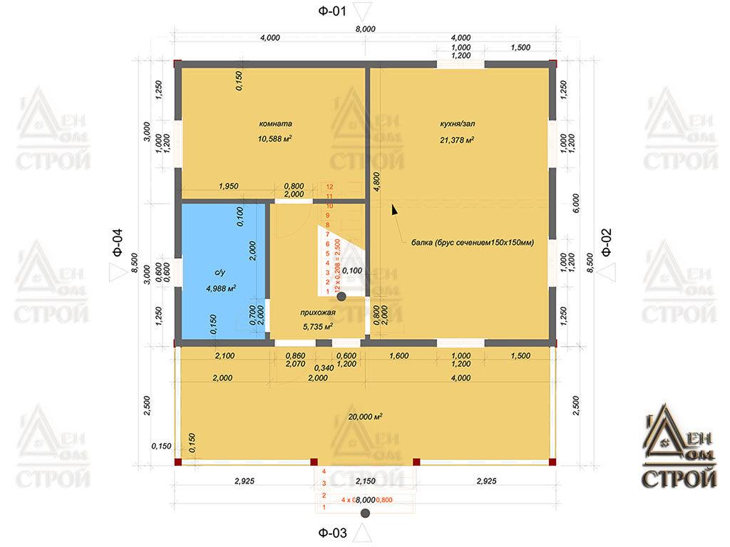 Проект каркасного дома 8х8.5