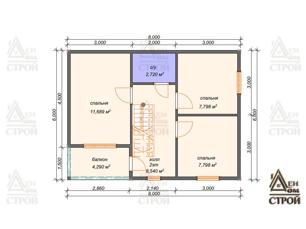 дом каркасный 6 на 8 двухэтажный