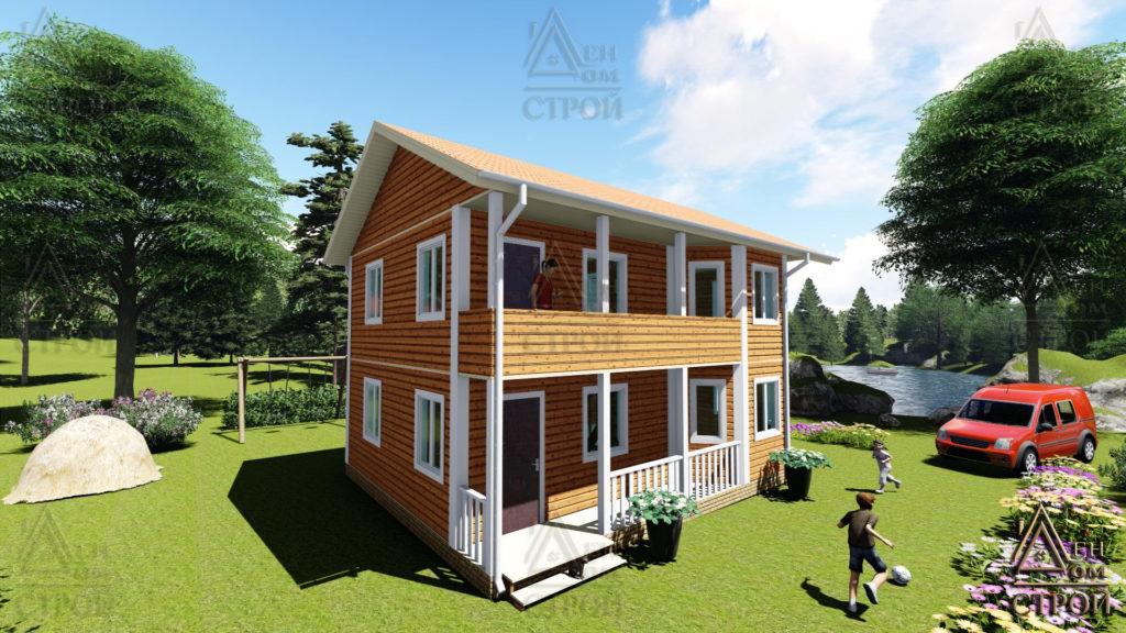 Дом из бруса 7 на 9 двухэтажный