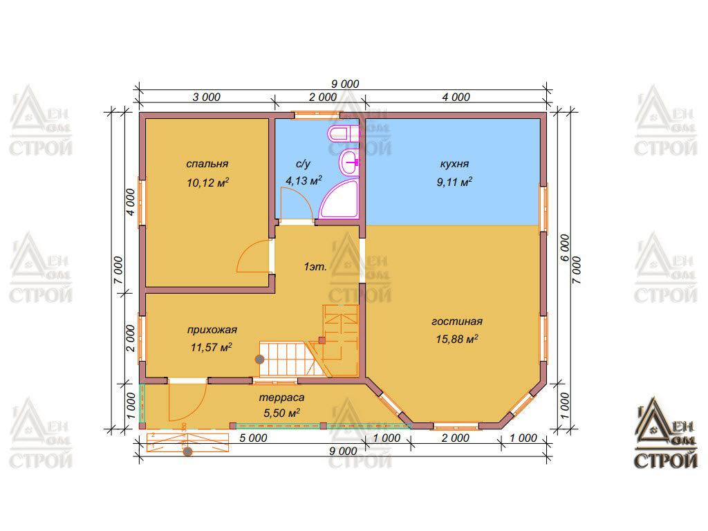 Проект дома из бруса 7х9 двухэтажного купить в Санкт-Петербурге