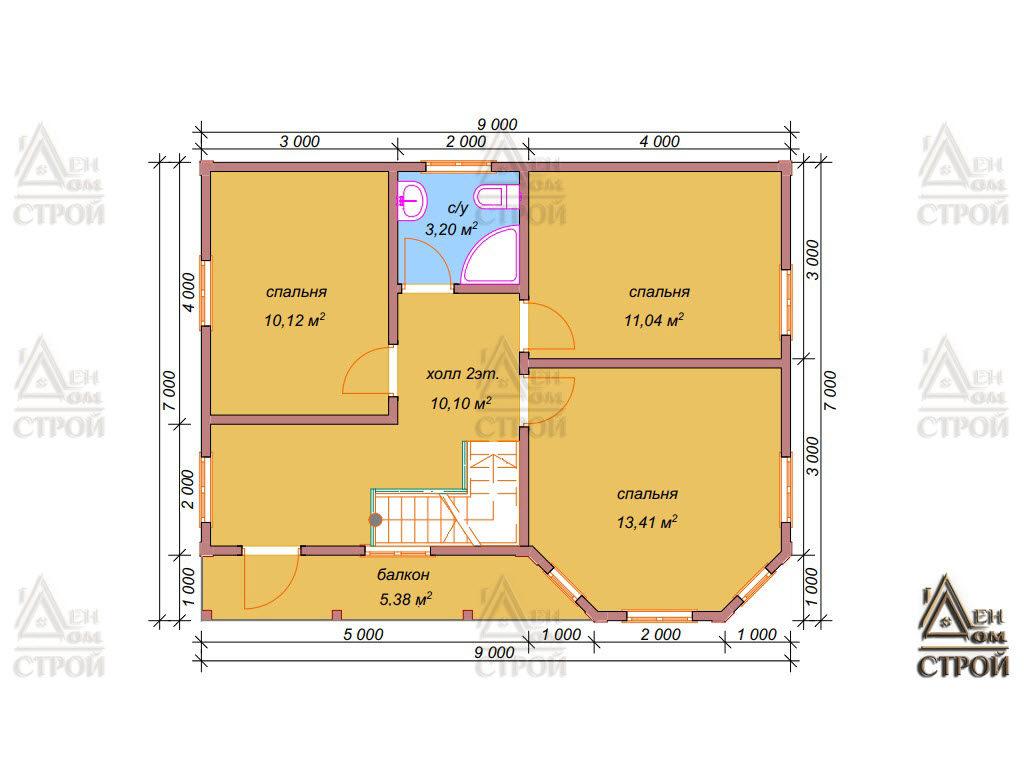 План дома из бруса 7х9 двухэтажного купить в Санкт-Петербурге