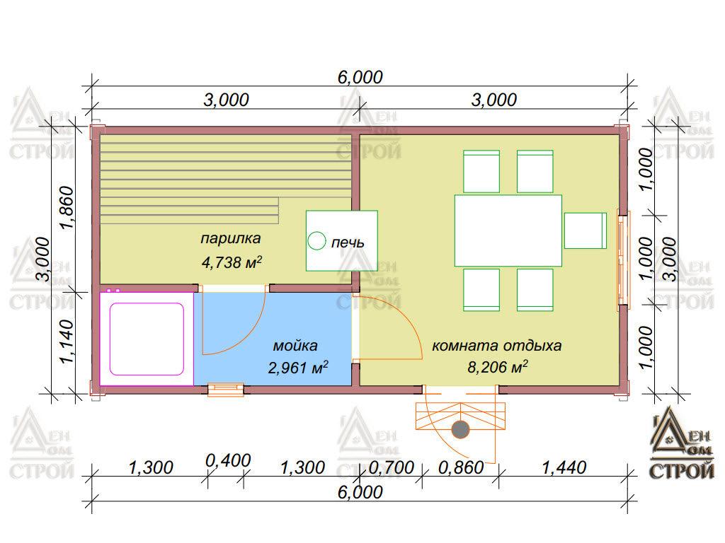 Проект бани из бруса 3x6 одноэтажной купить в Санкт-Петербурге