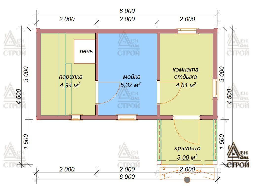 Проект бани из бруса 3 на 6 купить в Санкт-Петербурге