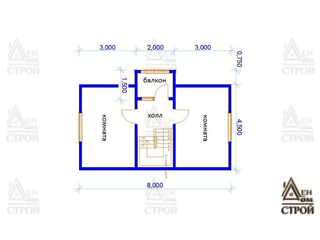 проект каркасного дома 6х8 с мансардой