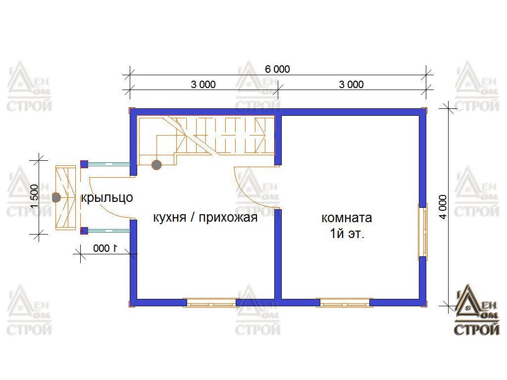 Проект дома из бруса 6 на 4 с мансардой купить в Санкт-Петербурге