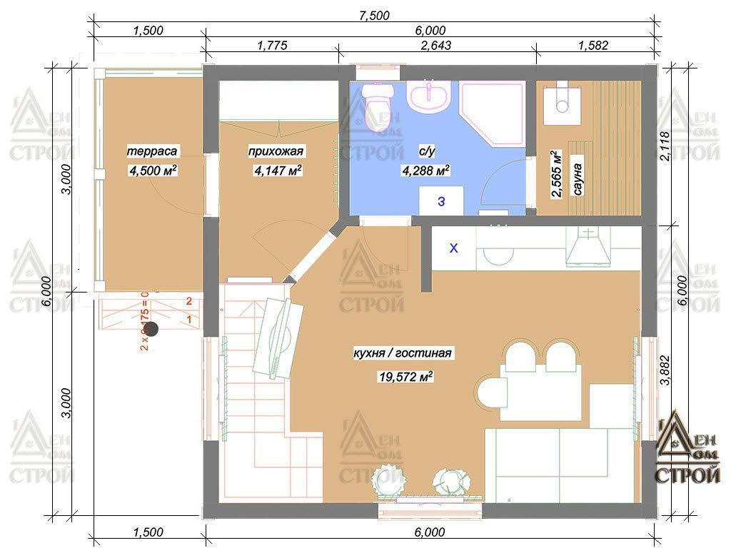 Проект дома из бруса 6 на 6 полутораэтажный купить в Санкт-Петербурге