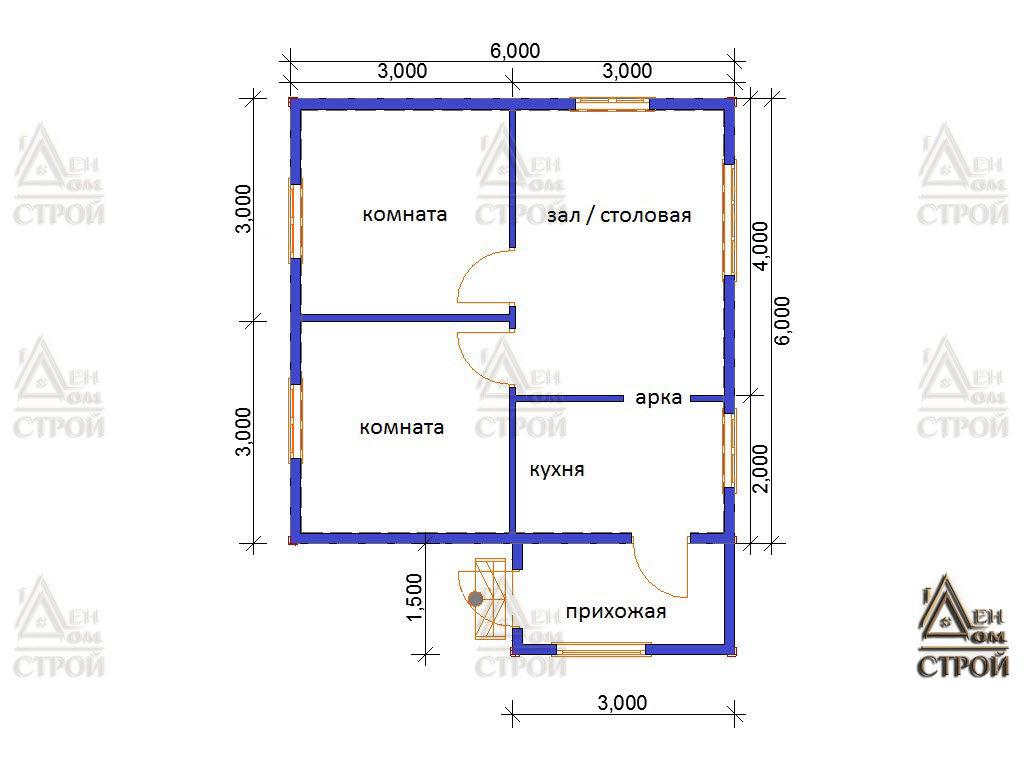 Проект дома из бруса 6 на 6 одноэтажный купить в СПб