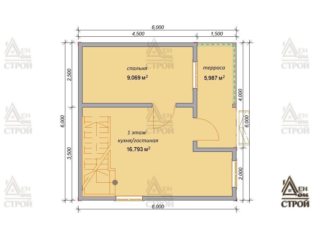 Проект дома из бруса 6 на 6 с мансардой купить в Санкт-Петербурге
