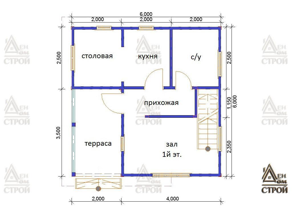Проект дома из бруса 6 на 6 со вторым светом купить в СПб