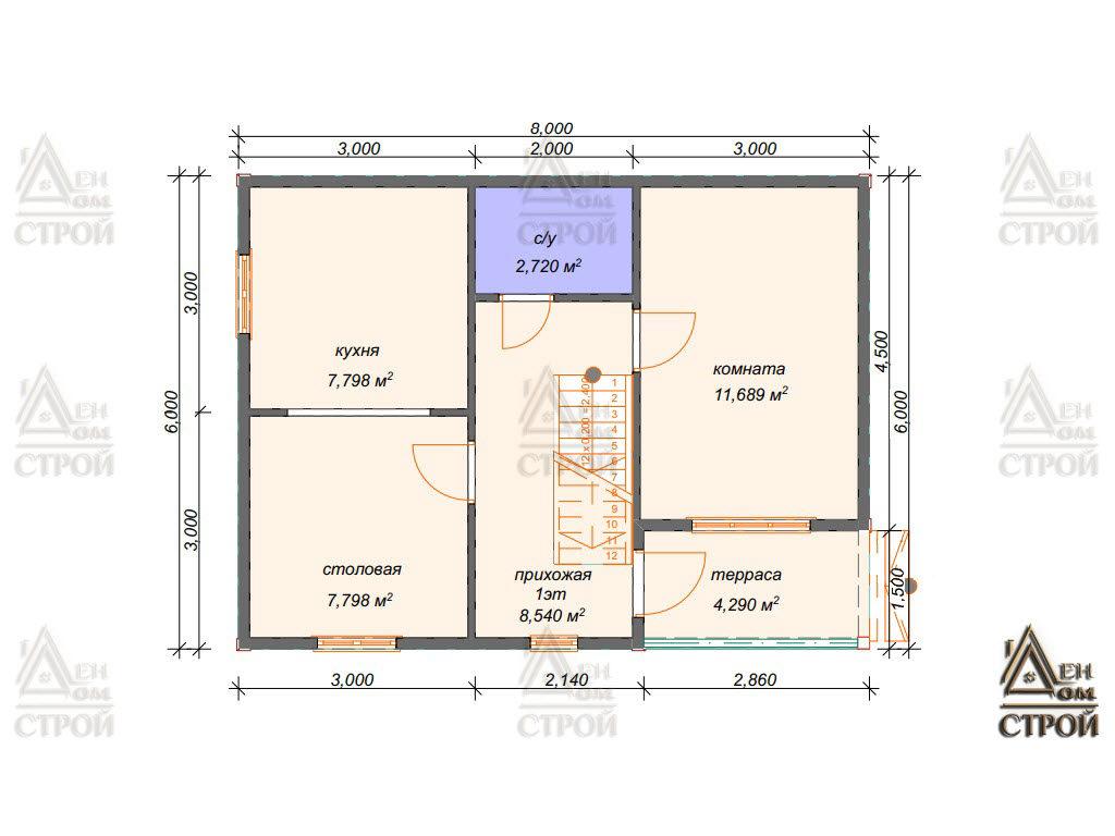 Проект дома из бруса 6x8 двухэтажный купить в Санкт-Петербурге