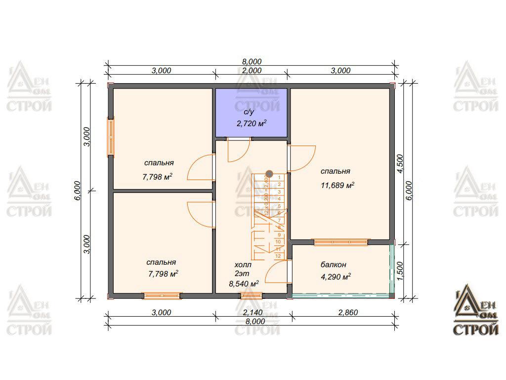 План дома из бруса 6x8 двухэтажный купить в Санкт-Петербурге