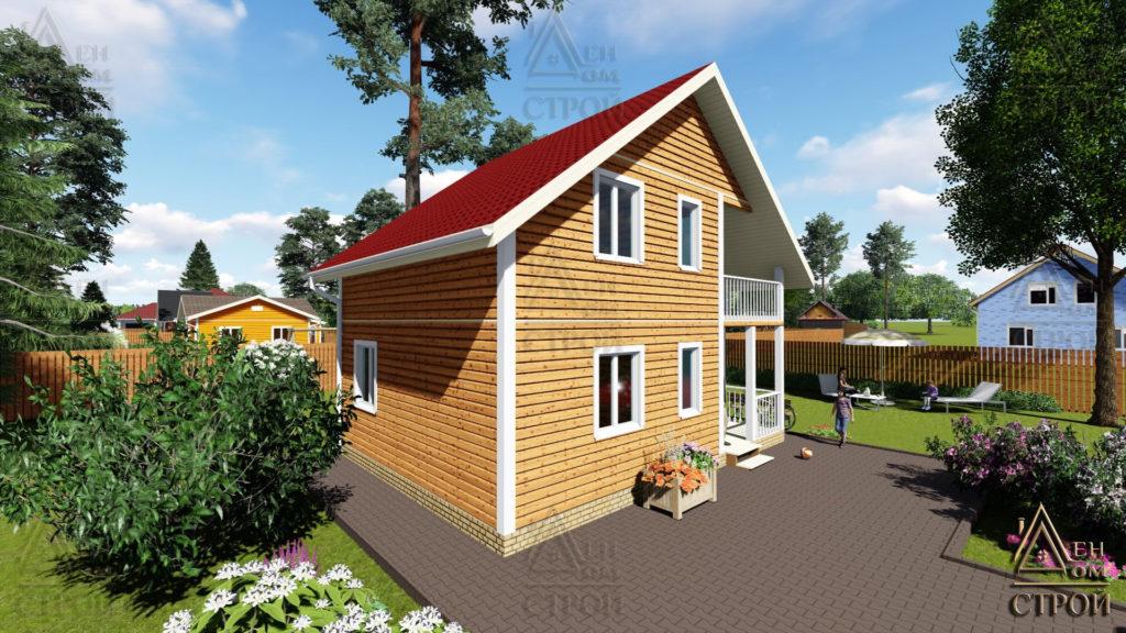 Дом из бруса 6x8 полутораэтажный