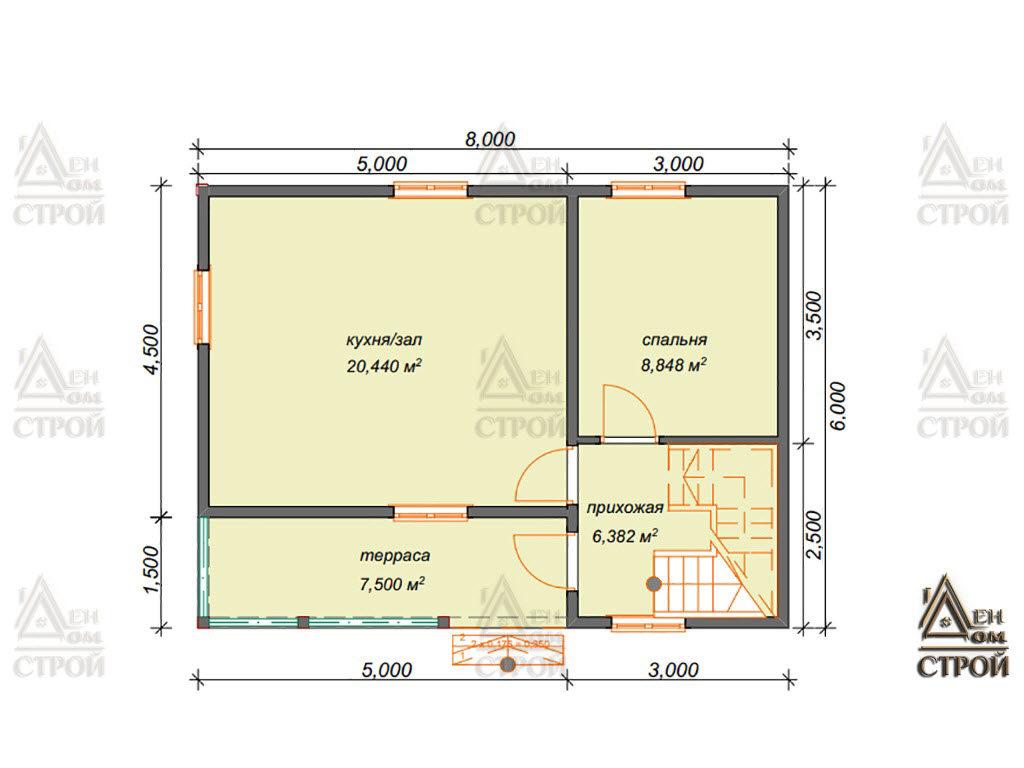 Проект дома из бруса 6x8 полутораэтажный купить в Санкт-Петербурге