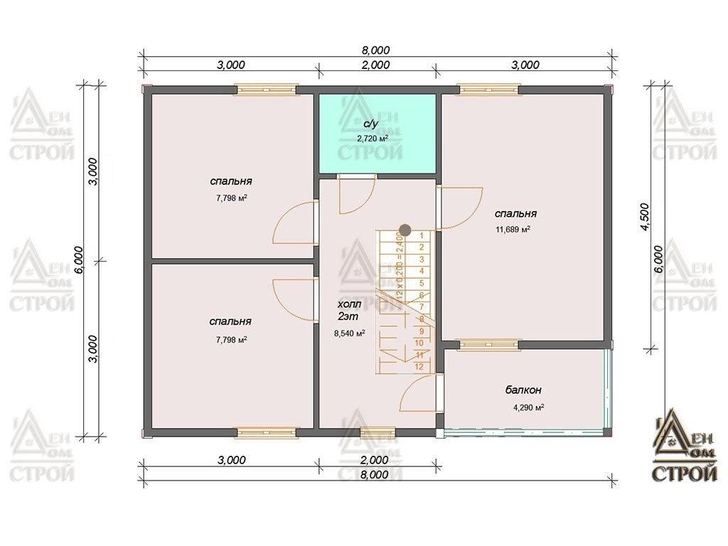 План дома из бруса 6x8 полутораэтажный купить в Санкт-Петербурге