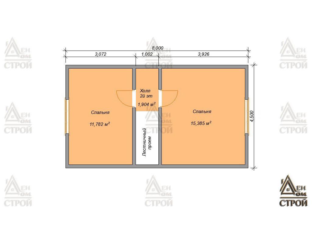 План дома из бруса 6x8 с мансардой для Санкт-Петербурге и Лен обл