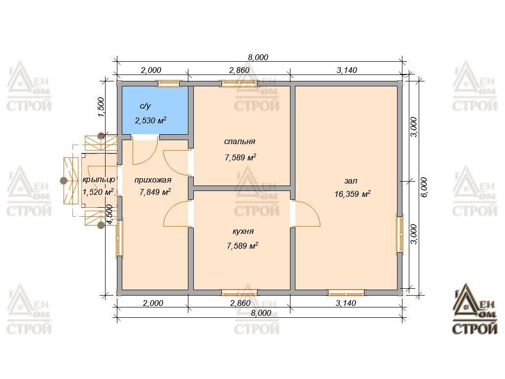 Проект дома из бруса 6 на 8 с одноэтажный купить в Санкт-Петербурге