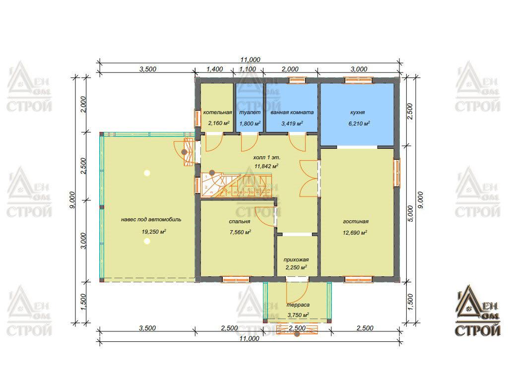Проект дома из бруса 7,5x7,5 двухэтажного купить в Санкт-Петербурге