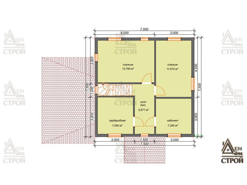 План дома из бруса 7,5x7,5 двухэтажного купить в Санкт-Петербурге