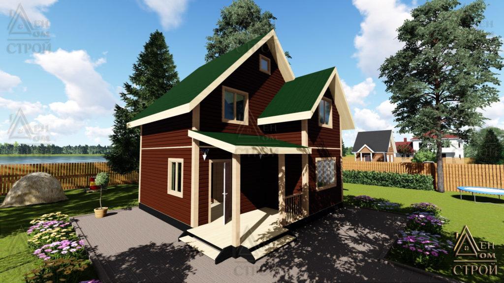 Дом из бруса 7x7 полутораэтажный