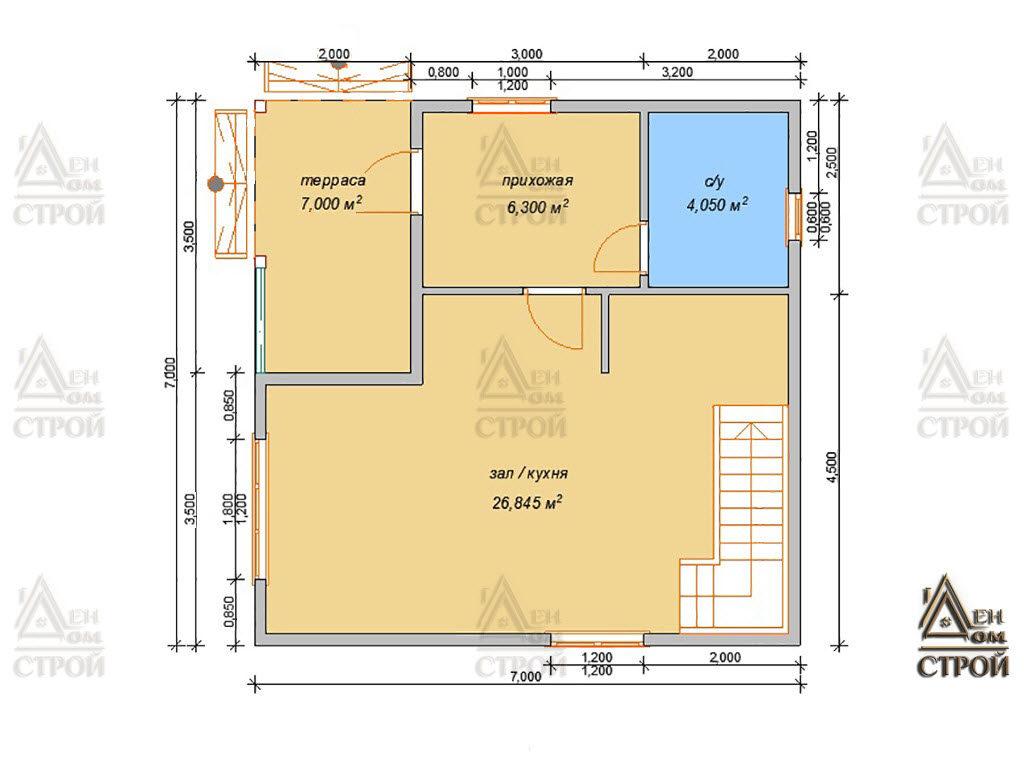 Проект дома из бруса 7x7 полутораэтажный купить в Санкт-Петербурге и Лен обл