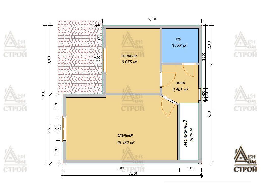 План дома из бруса 7x7 полутораэтажный купить в Санкт-Петербурге и Лен обл