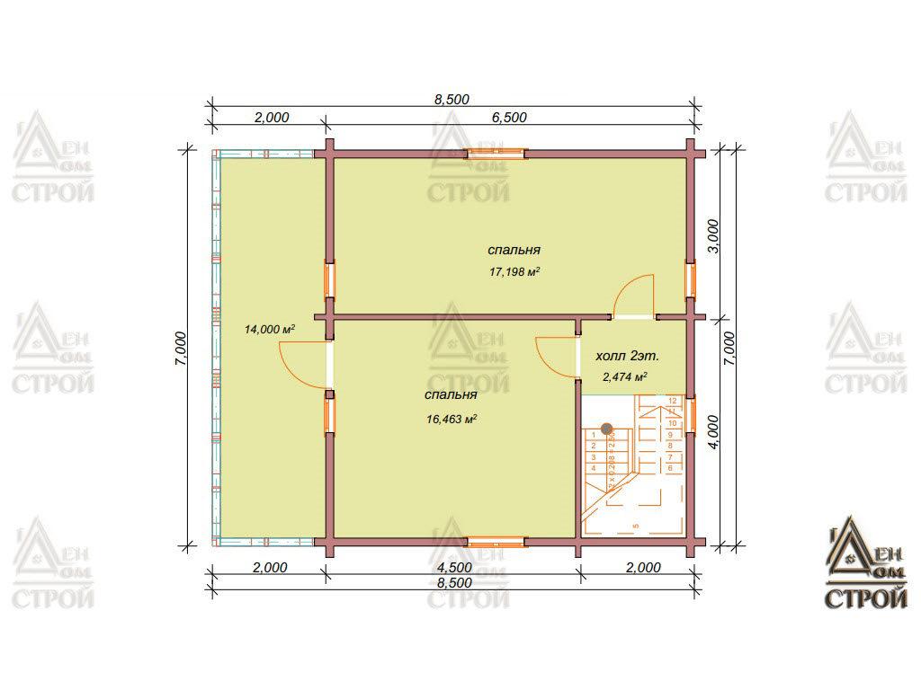 План дома из бруса 7x8,5 в Санкт-Петербурге