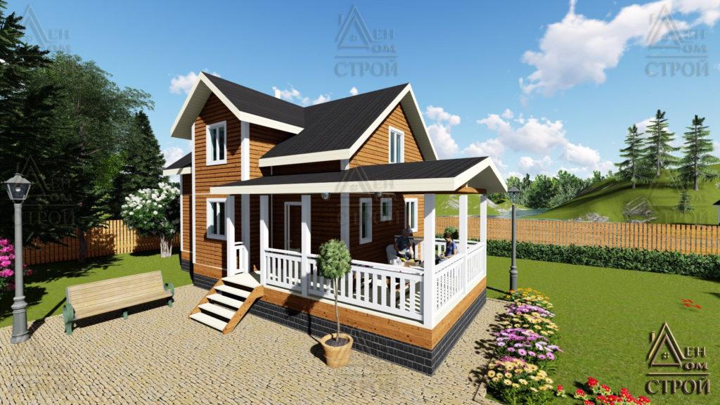 Дом из бруса 7x9 полутораэтажный