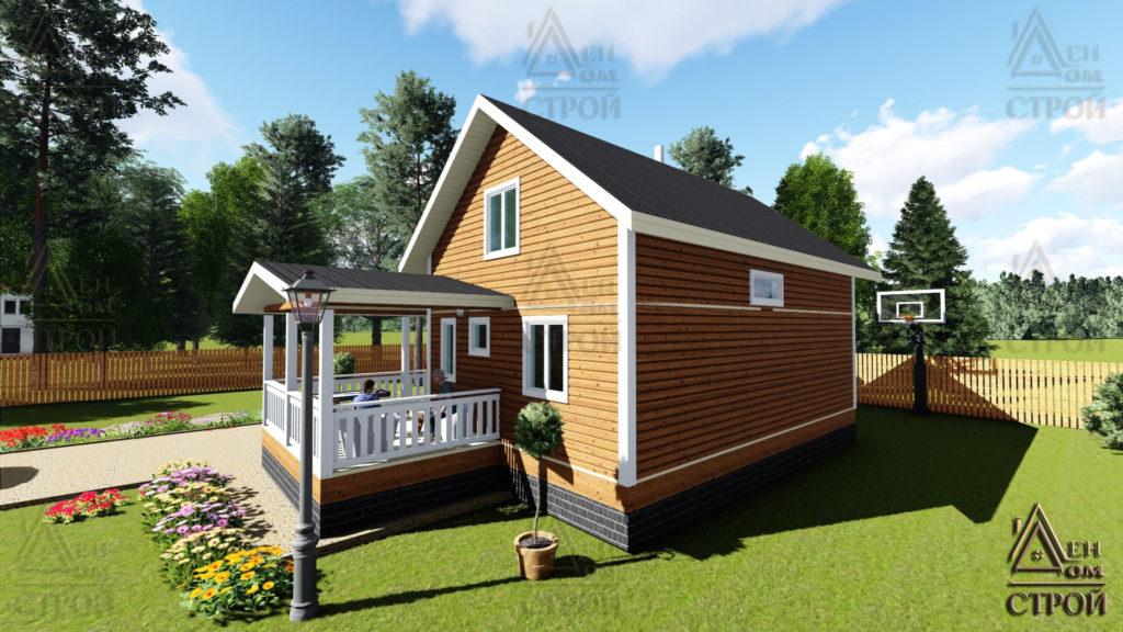 Дом из бруса 7x9 полутораэтажный с верандой купить в Санкт-Петербурге