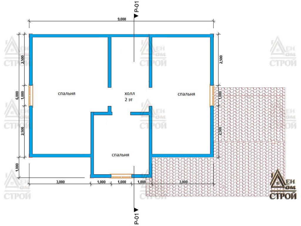 План дома из бруса 7x9 полутораэтажный с верандой купить в Санкт-Петербурге