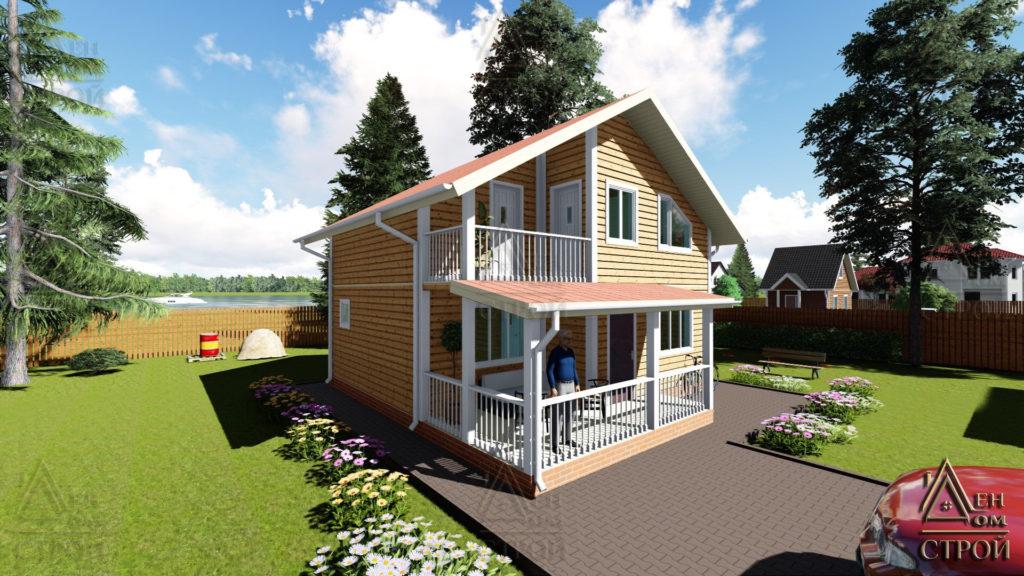 Дом из бруса 8x на 8.5 полутораэтажный