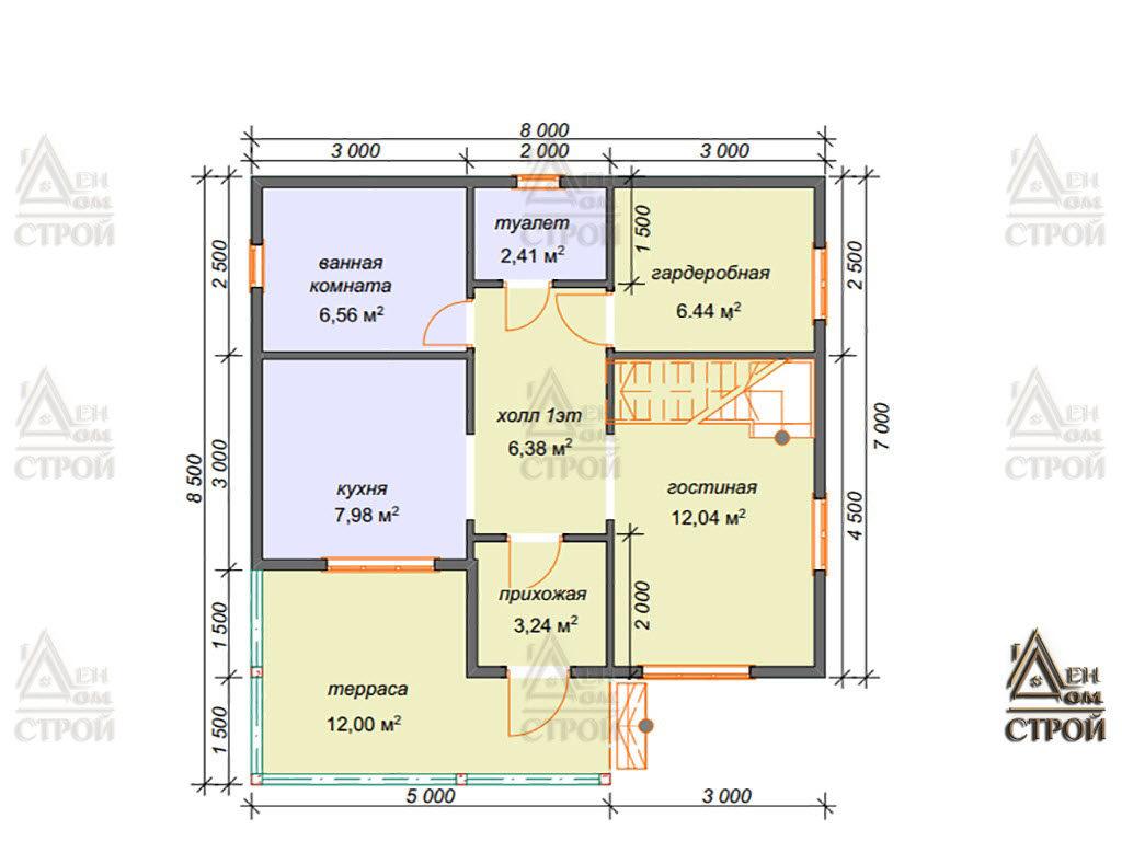 Проект дома из бруса 8x8.5 полутораэтажный купить в Санкт-Петербург