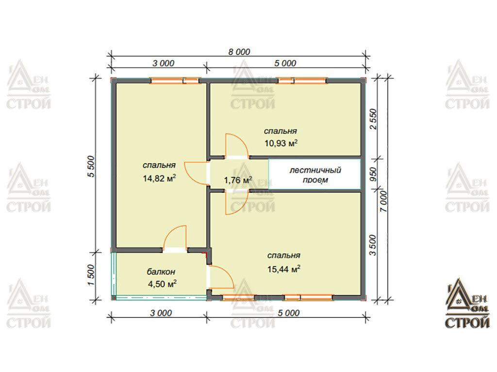 План дома из бруса 8x8.5 полутораэтажный купить в Санкт-Петербург