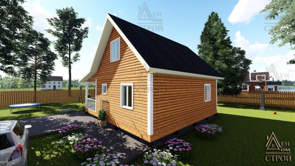 Дом из бруса 8x8.5 с мансардой купить в Санкт-Петербурге