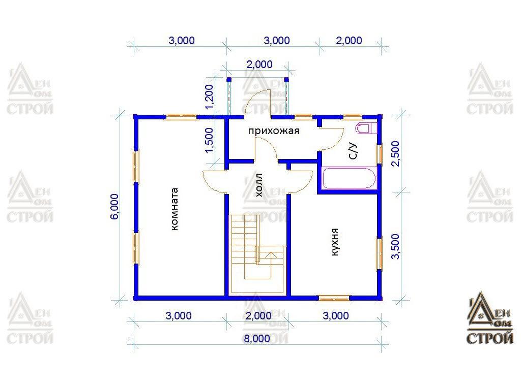 Проект дома из бруса с мансардой 6x8 купить в Санкт-Петербурге
