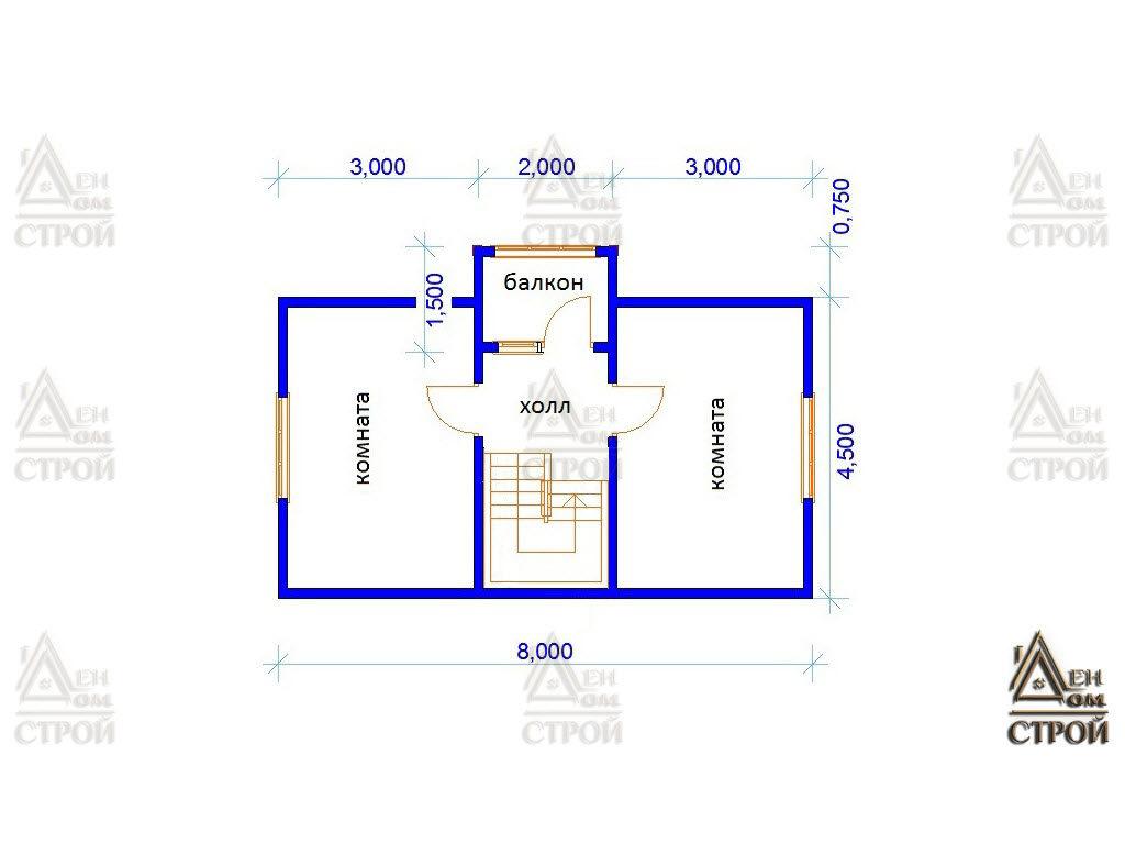 План дома из бруса с мансардой 6x8 купить в Санкт-Петербурге