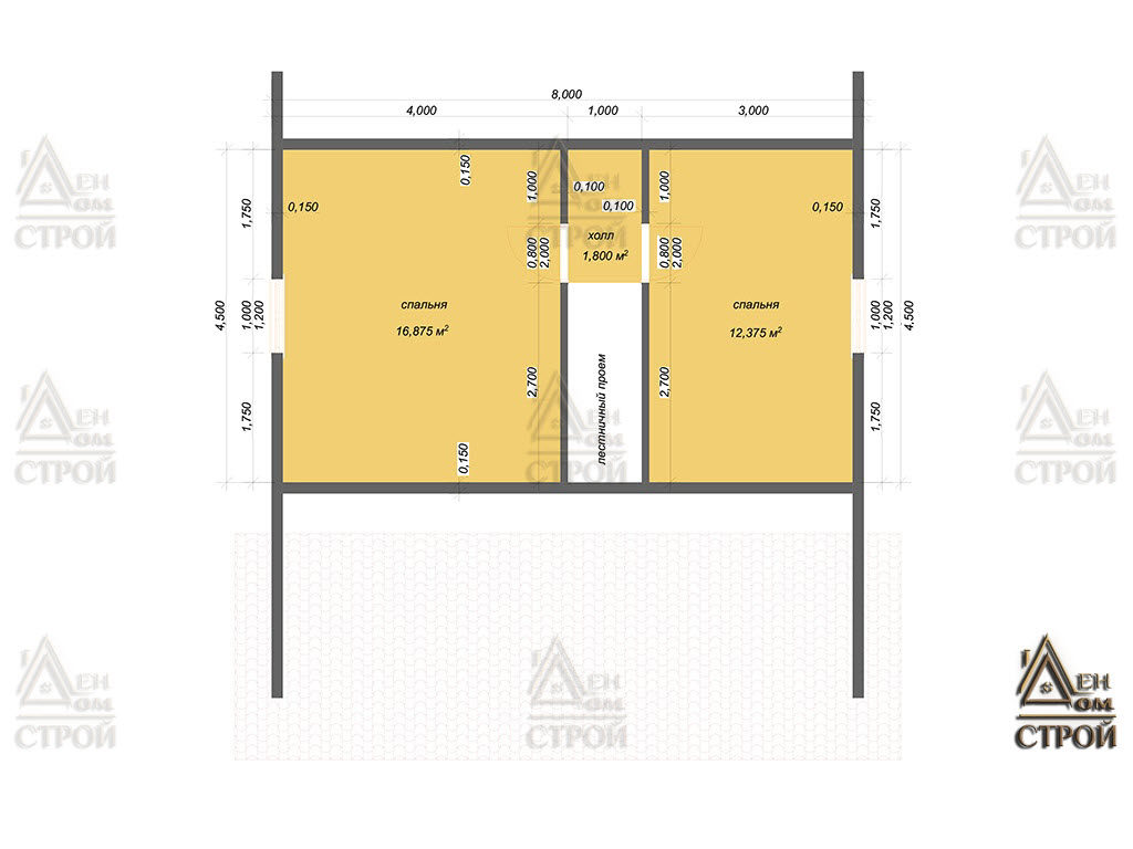 План дома из бруса 8x8.5 с мансардой купить в Санкт-Петербурге